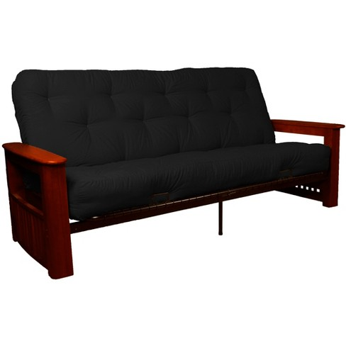 "Flip Top Arm 8"" Cotton/Foam Futon Sofa Sleeper Mahogany Wood Finish - Sit N Sleep - image 1 of 3"