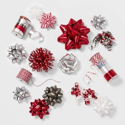 39ct Christmas Bow Ribbon Kit Red White Silver and Gray - Wondershop™