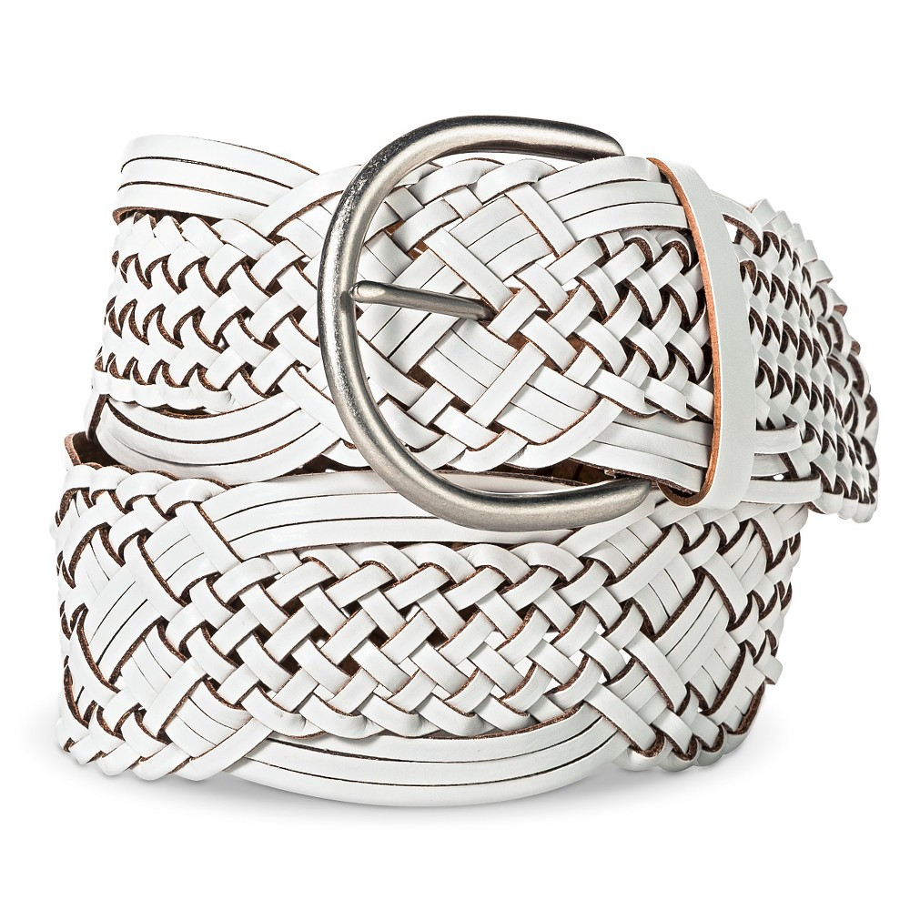 Women's Wide Woven Belt - Merona White S