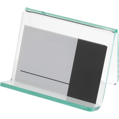 "Lorell Business Card Holder 3-1/4""x3""x2-5/8"" Clear/Green 80657"