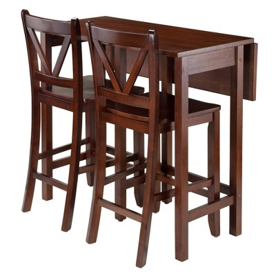 3pc Lynnwood Set Drop Leaf Counter Height Dining Sets with Counter Stools Wood/Walnut - Winsome