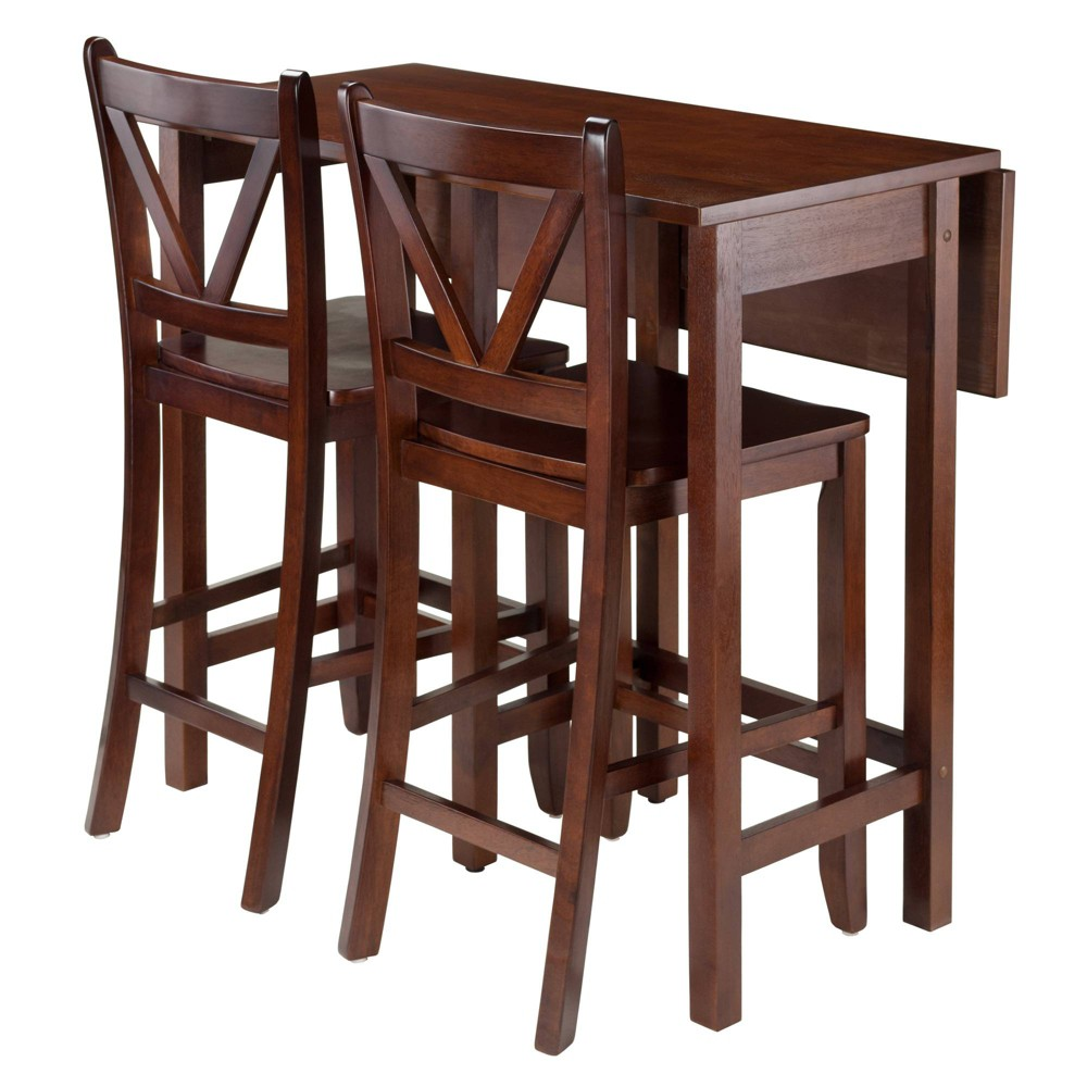 3 Piece Lynnwood Set Drop Leaf High Table with V-Back Counter Stools Wood/Walnut (Brown) - Winsome