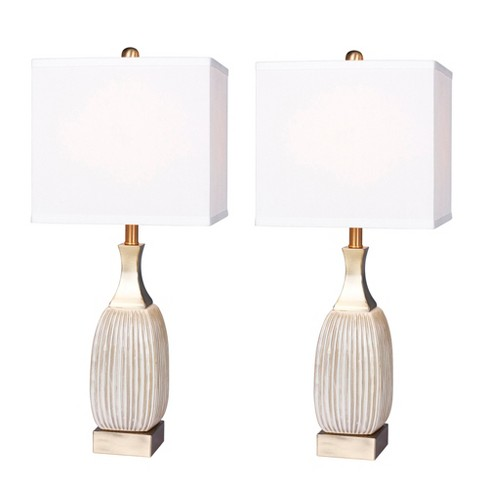 Aged Ceramic Table Lamps Antique White