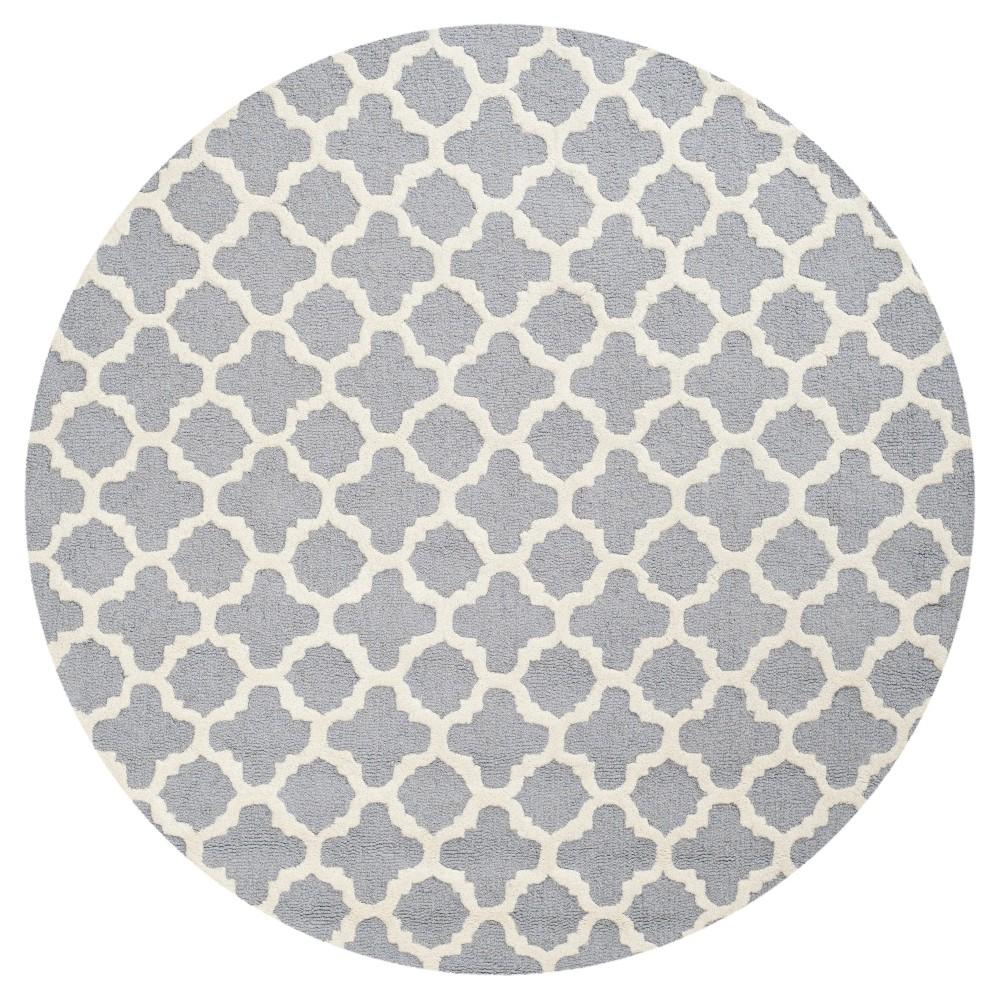 6' Geometric Area Rug Silver - Safavieh