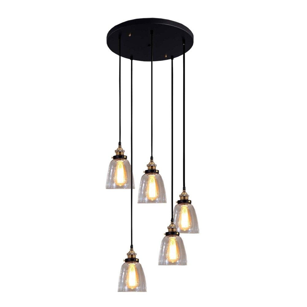 "Image of ""6"""" x 6"""" x 35"""" Euna 5 Light Adjustable Cord Edison Lamp Black - Warehouse of Tiffany"""