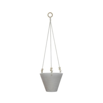 Small Embossed Stoneware Hanging Planter with Cotton Rope & Wood Beads Matte White - 3R Studios