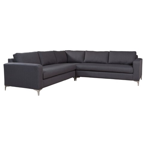 Modern Usa Made Upholstered 3 Piece 110 Sectional Sofa Charcoal Zm Home Target