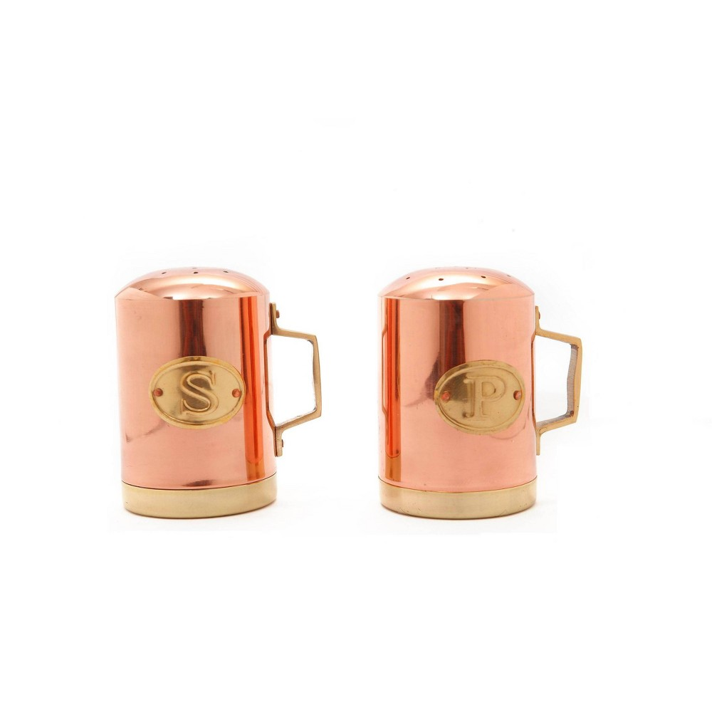 Image of Old Dutch 2pc Copper Stovetop Salt and Pepper Set, Brown