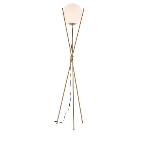 Mid Century Modern 3 Leg Frosted Glass Orb 70 Floor Lamp White Brushed Brass Zm Home