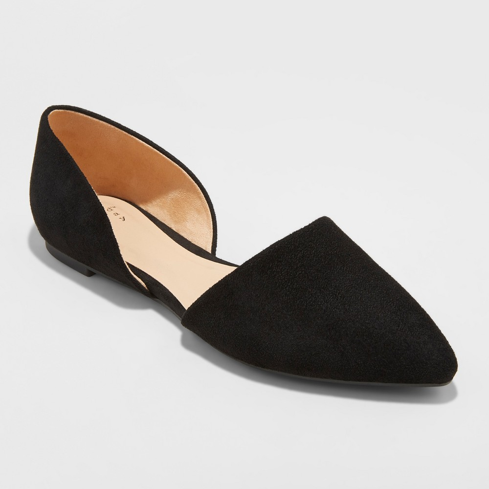 Women's Rebecca Microsuede Wide Width Pointed Two Piece Ballet Flats - A New Day Black 5.5W, Size: 5.5Wide