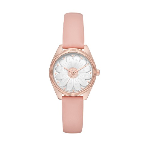 Women's Floral Dial Strap Watch - Xhilaration™ Rose Gold - image 1 of 1
