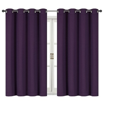 Kate Aurora 100% Hotel Thermal Blackout Purple Grommet Top Curtain Panels