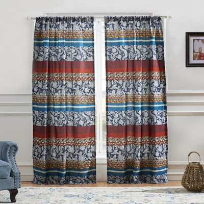 """Barefoot Bungalow Vista Quirky 4-Piece Window Panel With Tie Back - 42X84"""" Multicolor"""