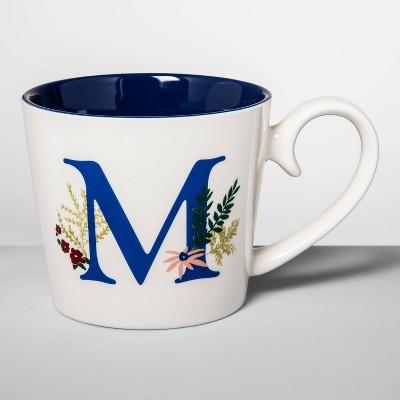16oz Stoneware Monogram Mug Cream M - Opalhouse™