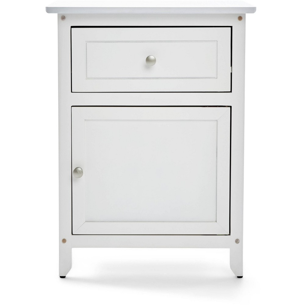 Alcott Side Table With Single Drawer And Storage Cabinet White Clickdecor