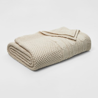 Twin Cable Knit Chenille Bed Blanket Tan - Threshold™