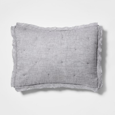 Standard Linen Blend Tufted Pillow Sham Radiant Gray - Threshold™