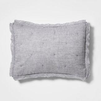 King Linen Blend Tufted Pillow Sham Radiant Gray - Threshold™