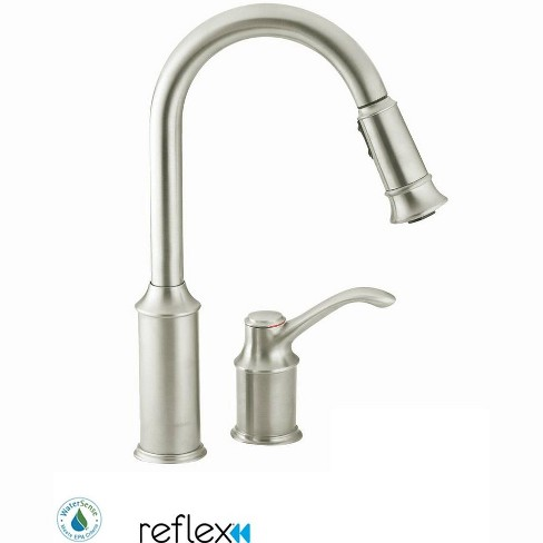 Moen 7590 Aberdeen Single Handle Pulldown Spray Kitchen Faucet With Reflex Technology Classic Stainless Target