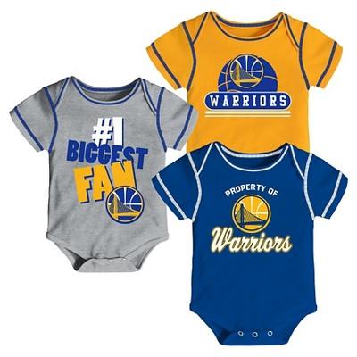 Golden State Warriors Baby Boys' 3pk Bodysuit Set 3-6 M