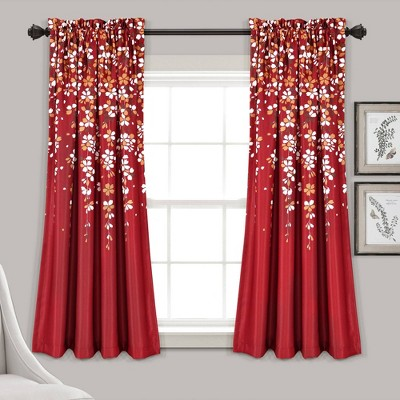 Set of 2 Weeping Flower Room Darkening Window Curtain Panels - Lush Décor