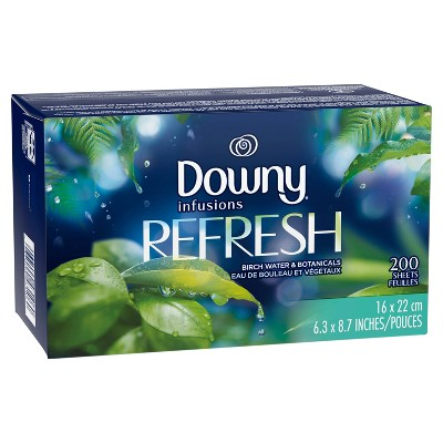 Downy Infusions Refresh Birch Water & Botanicals Fabric Softener Dryer Sheets - 200ct