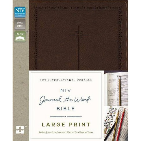 NIV, Journal the Word Bible, Large Print, Imitation Leather, Brown - by  Zondervan (Leather_bound) - image 1 of 1