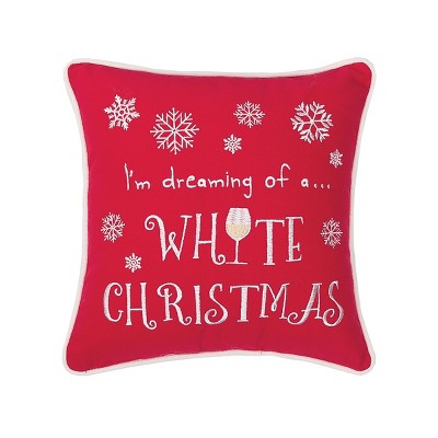 """C&F Home 10"""" x 10"""" White Christmas Embroidered Pillow"""