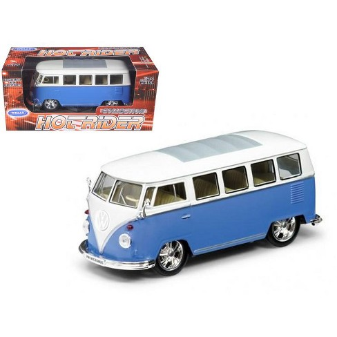 1962 Volkswagen Classical Bus Low Rider Blue 1/24 Diecast Car Model by Welly - image 1 of 1