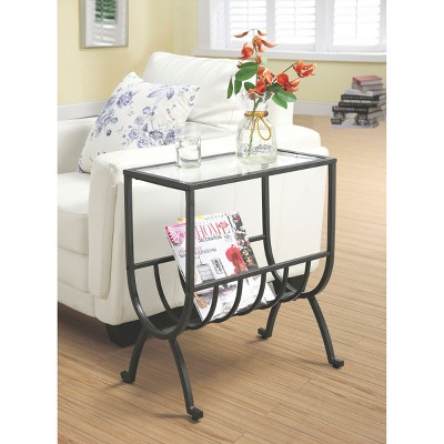 Metal Magazine End Table with Tempered Glass - Brown - EveryRoom