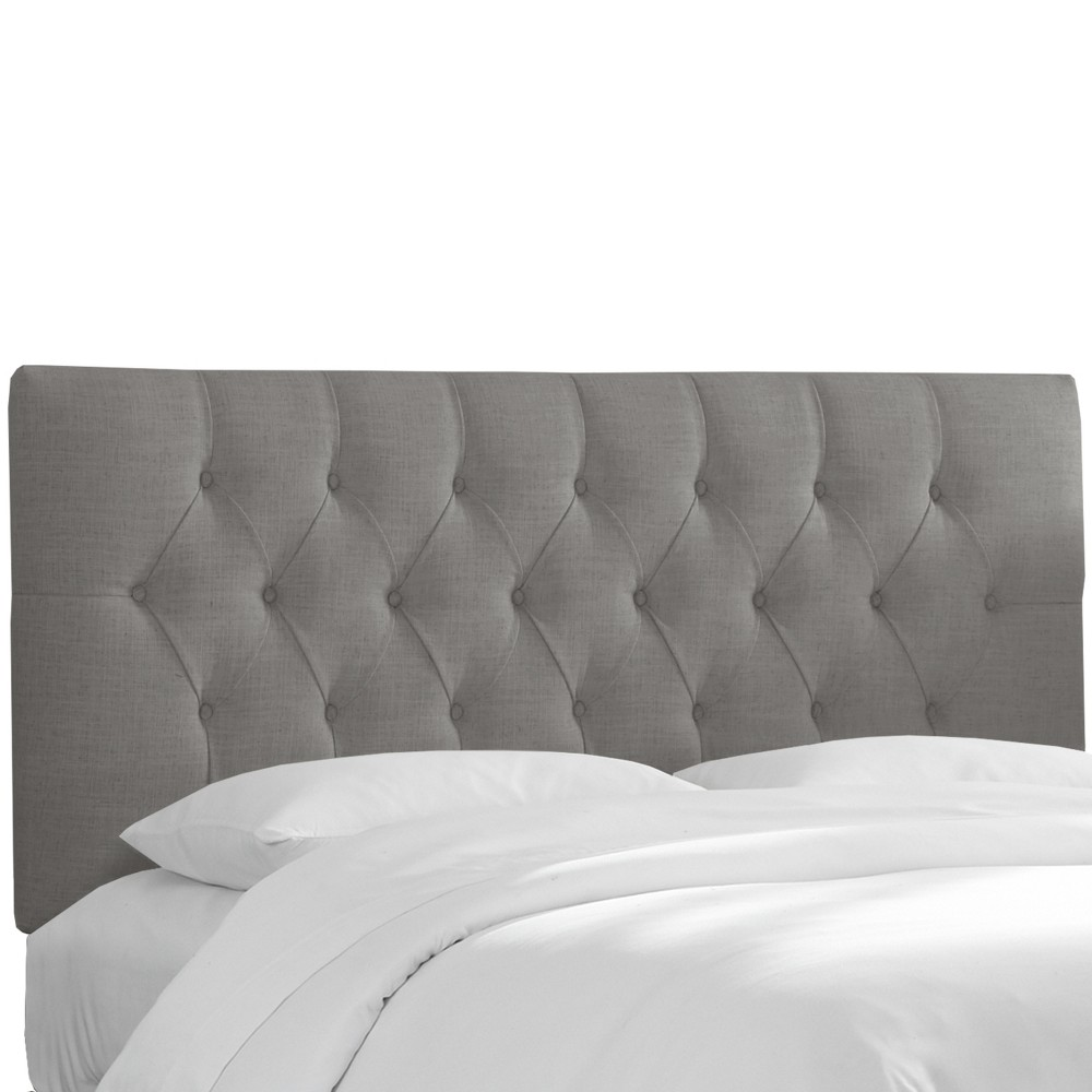 Twin Jasmine Tufted Upholstered Headboard Gray Linen - Cloth & Co.