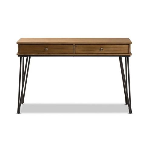 Toma Rustic Metal And Distressed Wood 2 Drawer Storage Desk Brown Baxton Studio Target