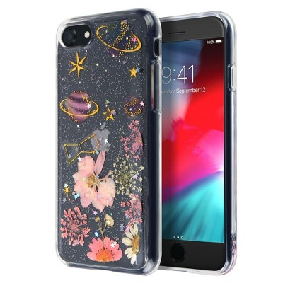 Insten Floral & Space Case For iPhone SE 2020 (2nd Gen), Glitter Crystal Pressed Dried Real Flowers Soft TPU Cover, Planet & Daisy