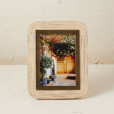 """5"""" x 7"""" Rattan/Glass Photo Frame Beige - Opalhouse™ designed with Jungalow™"""