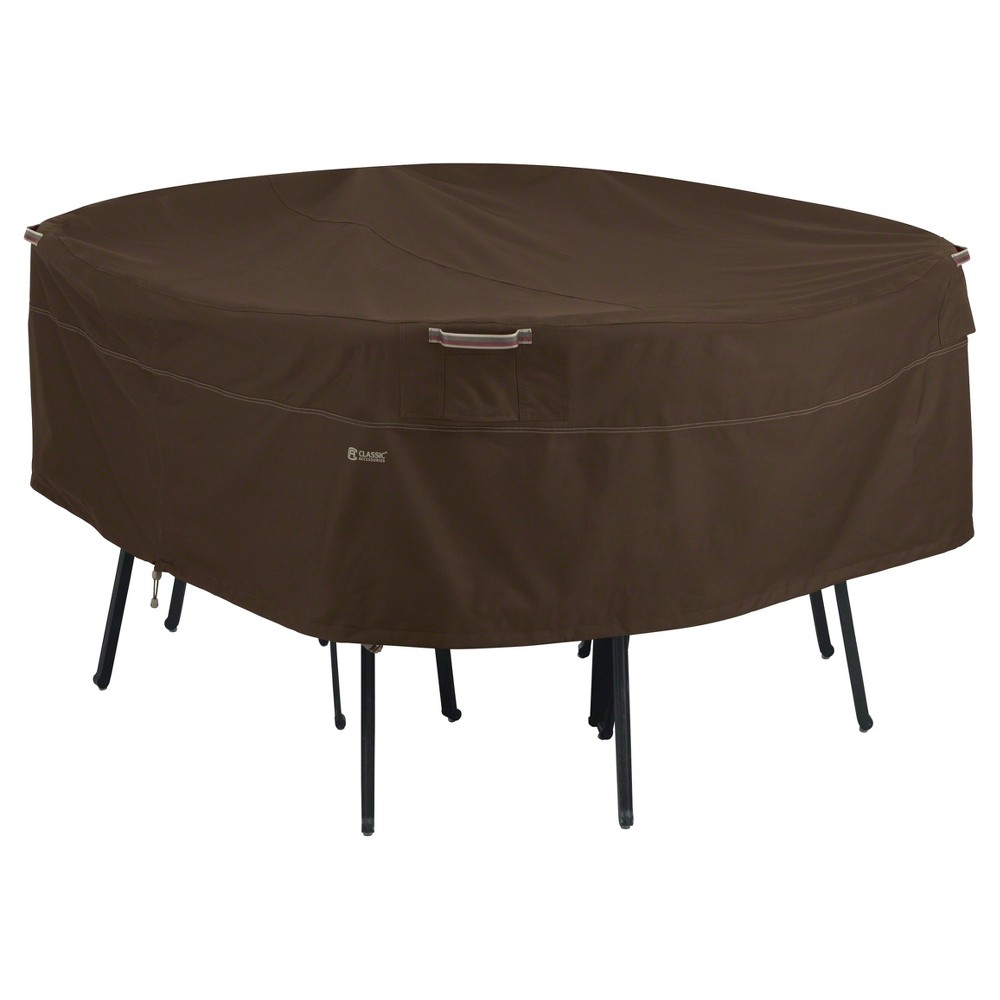 Madrona Medium Round Table And Chair Cover Dark Cocoa Classic Accessories, Brown
