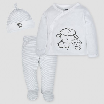 Gerber Baby Sheep 3pc Side-Snap Shirt, Footed Pants and Cap Set - Gray 0-3M