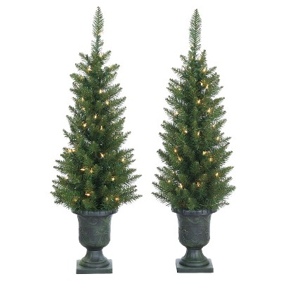 3.5ft Pre-Lit Artificial Christmas Tree Slim Porch Pot Norway - Clear Lights