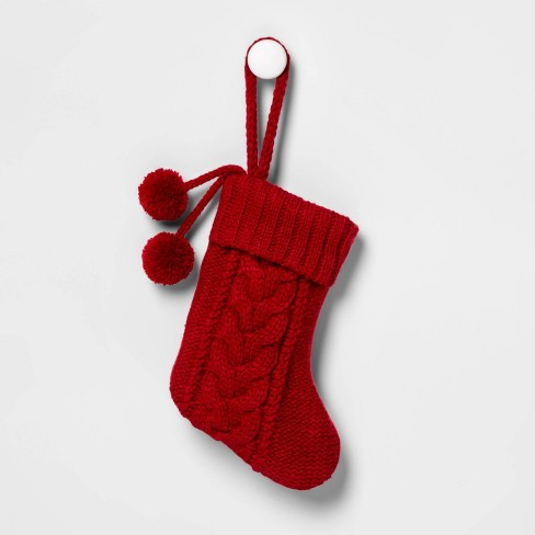 Mini Cable Knit Christmas Stocking Red - Wondershop™ - image 1 of 1