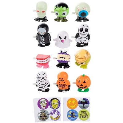 12-Pack Halloween Party Jumping Wind-Up Toys, Includes 160 Halloween Stickers