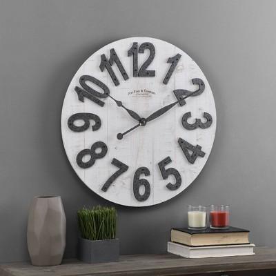 Josephine Slat Wood Farmhouse Clock White - FirsTime