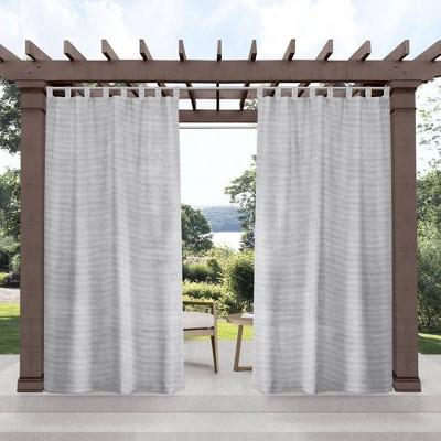 Set of 2 Miami Semi-Sheer Indoor/Outdoor Tab Top Curtain Panels Gray - Exclusive Home