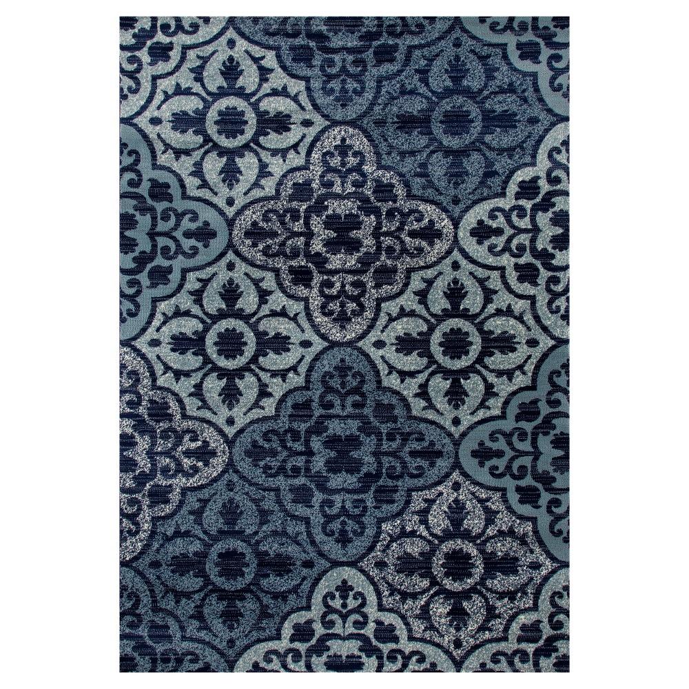 Image of Navy Damask Woven Area Rug 7'X9' - Art Carpet, Blue