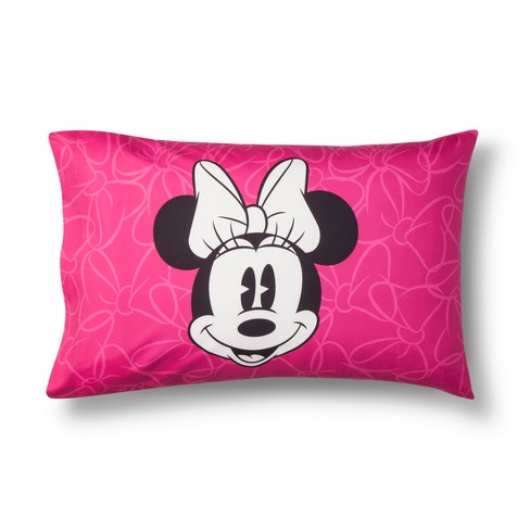 Mickey Mouse & Friends Minnie Mouse Pillow Case Gray/Pink - image 1 of 4