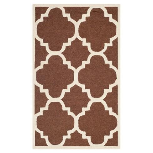 Landon Texture Wool Rug Dark Brown Ivory 3 X 5 Safavieh