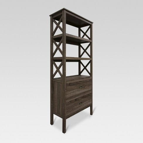 72 3 Shelf X Bookcase With Drawers