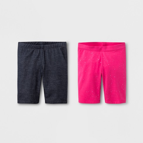 Girls' 2pk Mid-Length Bike Shorts - Cat & Jack™ Faux Denim/Pink Sparkle - image 1 of 1