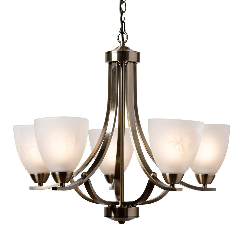 Image of Ciaran Brass Metal and Frosted Glass Chandelier Brass - Baxton Studio