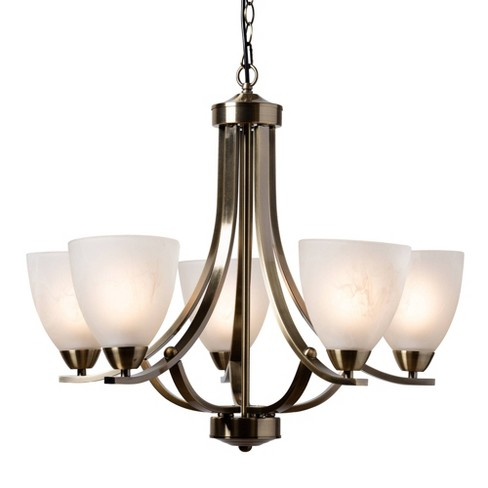 Ciaran Brass Metal and Frosted Glass Chandelier Brass - Baxton Studio - image 1 of 3