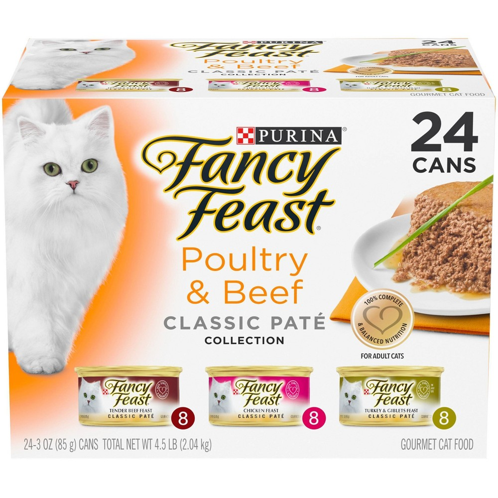 Purina Fancy Feast Classic Pat 233 Gourmet Wet Cat Food Poultry 38 Beef Collection 3oz 24ct Variety Pack