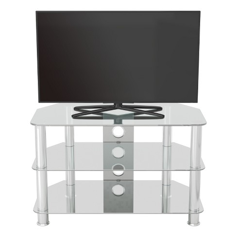 42 Classic Corner Glass Tv Stand Chrome Effect Clear Glass Avf